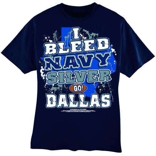 "Dallas Football ""I Bleed Navy & Silver - 3X Large T-Shirt"