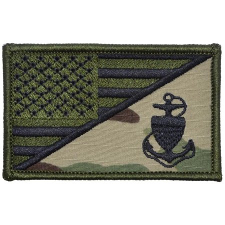 US Coast Guard CPO Anchor USA Flag - 2.25x3.5 (Us Flag Velcro Patch)