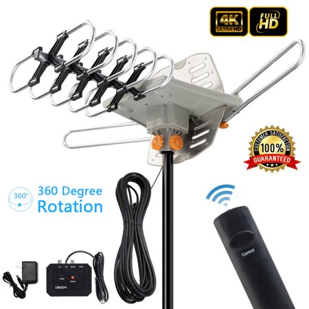 Zimtown 150Miles Outdoor  TV Antenna Motorized Amplified HDTV High Gain 36dB UHF VHF (Cb Base Antennas For Sale)