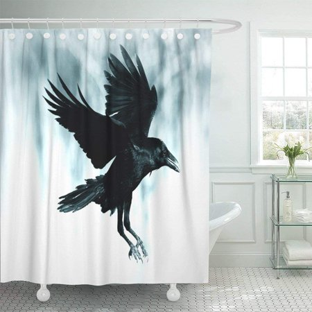 BPBOP Black Raven Flying in Moonlight Scary Creepy Gothic Setting Cloudy Night Halloween Old Photograph Shower Curtain 60x72 inch - Halloween Settings