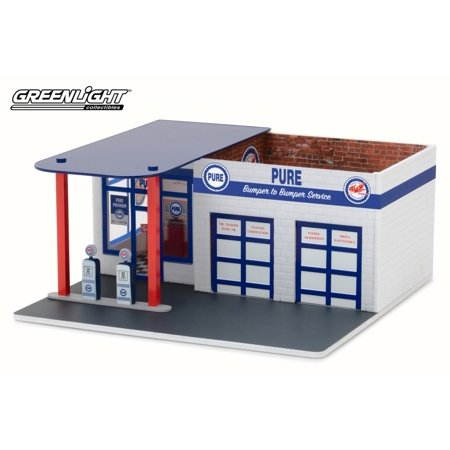 Scale Gas Station (Vintage Gas Station Pure Oil,  - Greenlight 57031 - 1/64 Scale Diecast Model Toy Car )