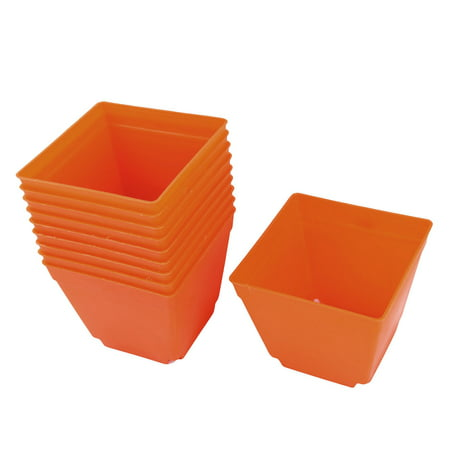 Balcony Plastic Square Flower Plant Pot Saucer Holder Orange 4 x 4 Inch 10pcs