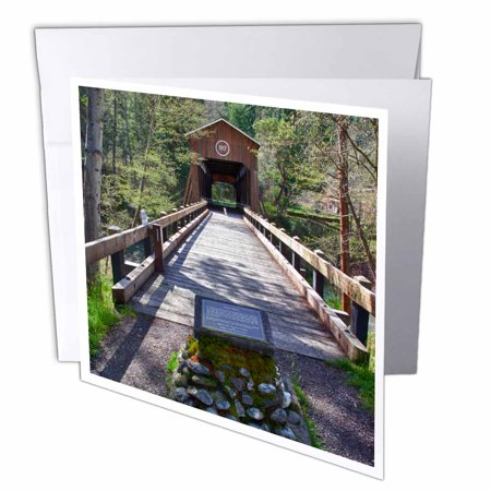3dRose OR, McKee Covered Bridge, Applegate River - US38 JWI0424 - Jamie and Judy Wild, Greeting Cards, 6 x 6 inches, set of 12