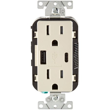 Leviton T5633-T Decora Receptacle & USB Charger, 15 Amp, 125 Volts