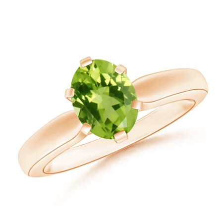 August Birthstone Ring - Tapered Shank Oval Solitaire Peridot Ring in 14K Rose Gold (8x6mm Peridot) - SR0148P-RG-AAA-8x6-12