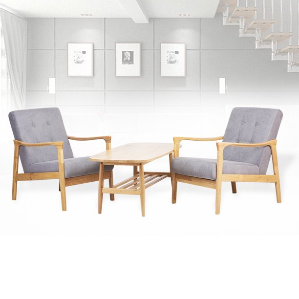 Living Room Lounge Set Of 2 Tommy Chairs And Nicky Rectangular Coffee Table Modern Solid Wood Beech Color With Light Gray Cushion Walmart Com Walmart Com