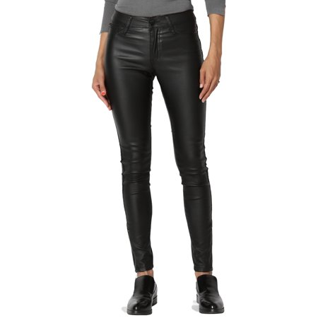 TheMogan Women's Faux Leather Zip Ankle Skinny Pants Leatherette Shinny