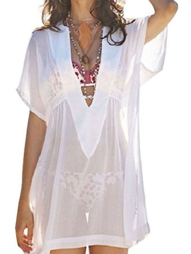 Women Bikini Cover Up Mini Dress V Neck Loose Swimwear Bathing Suit Beachwear Swimsuit Long Tops Kaftan Sundress