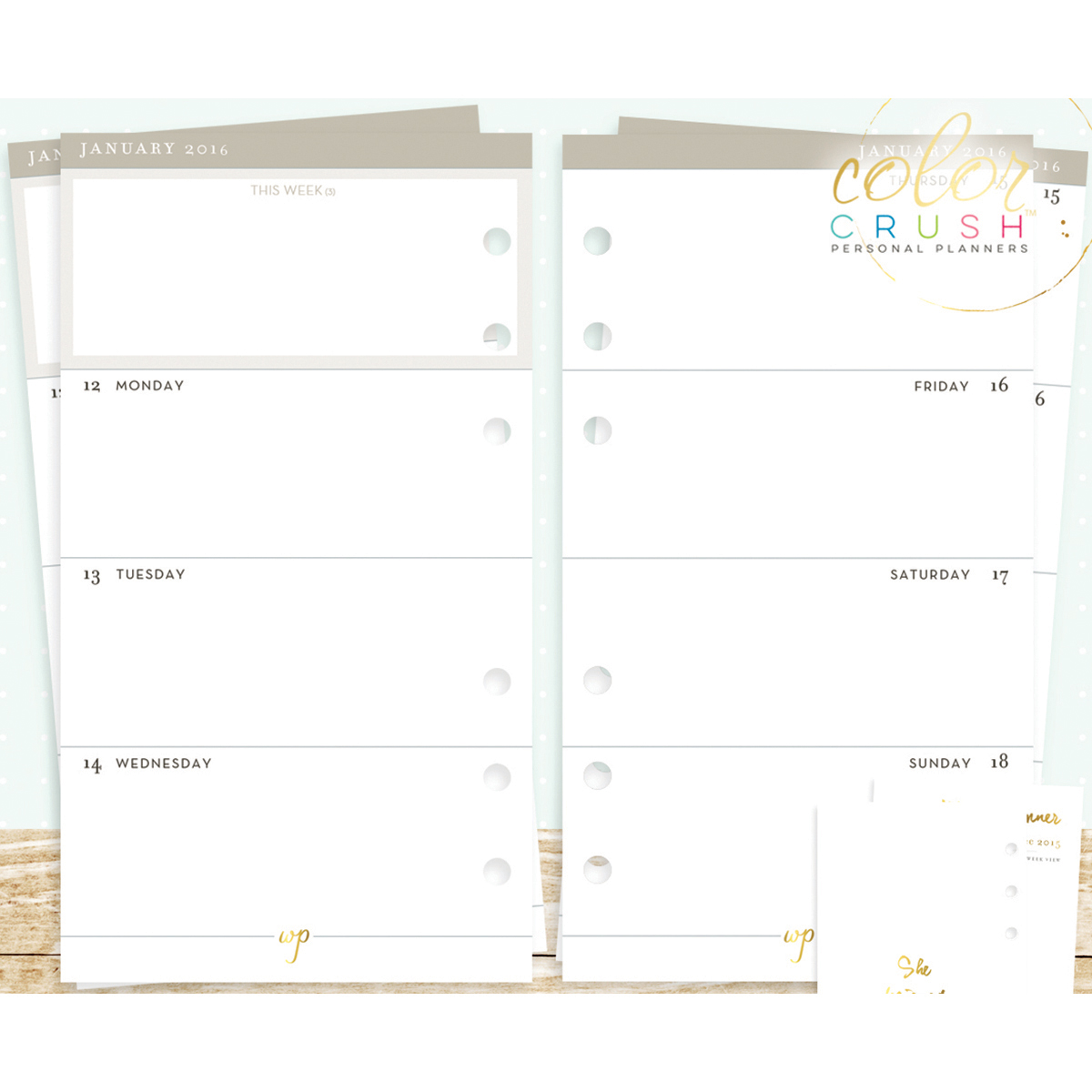 Color Crush A2 Personal Planner Calendar Inserts -18 Months W/Week
