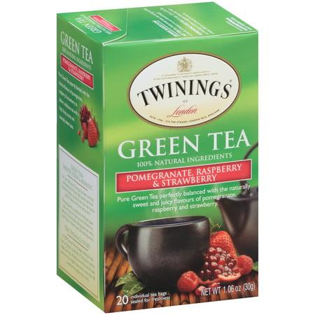 (4 Boxes) Twinings of LondonÃÂî Pomegranate, Raspberry & Strawberry Green 20 ct Tea Bags 1.06 oz. Box Black Tea Raspberry Fruit