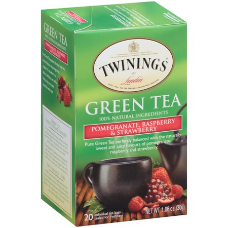 - (4 Boxes) Twinings of LondonÃÂî Pomegranate, Raspberry & Strawberry Green 20 ct Tea Bags 1.06 oz. Box