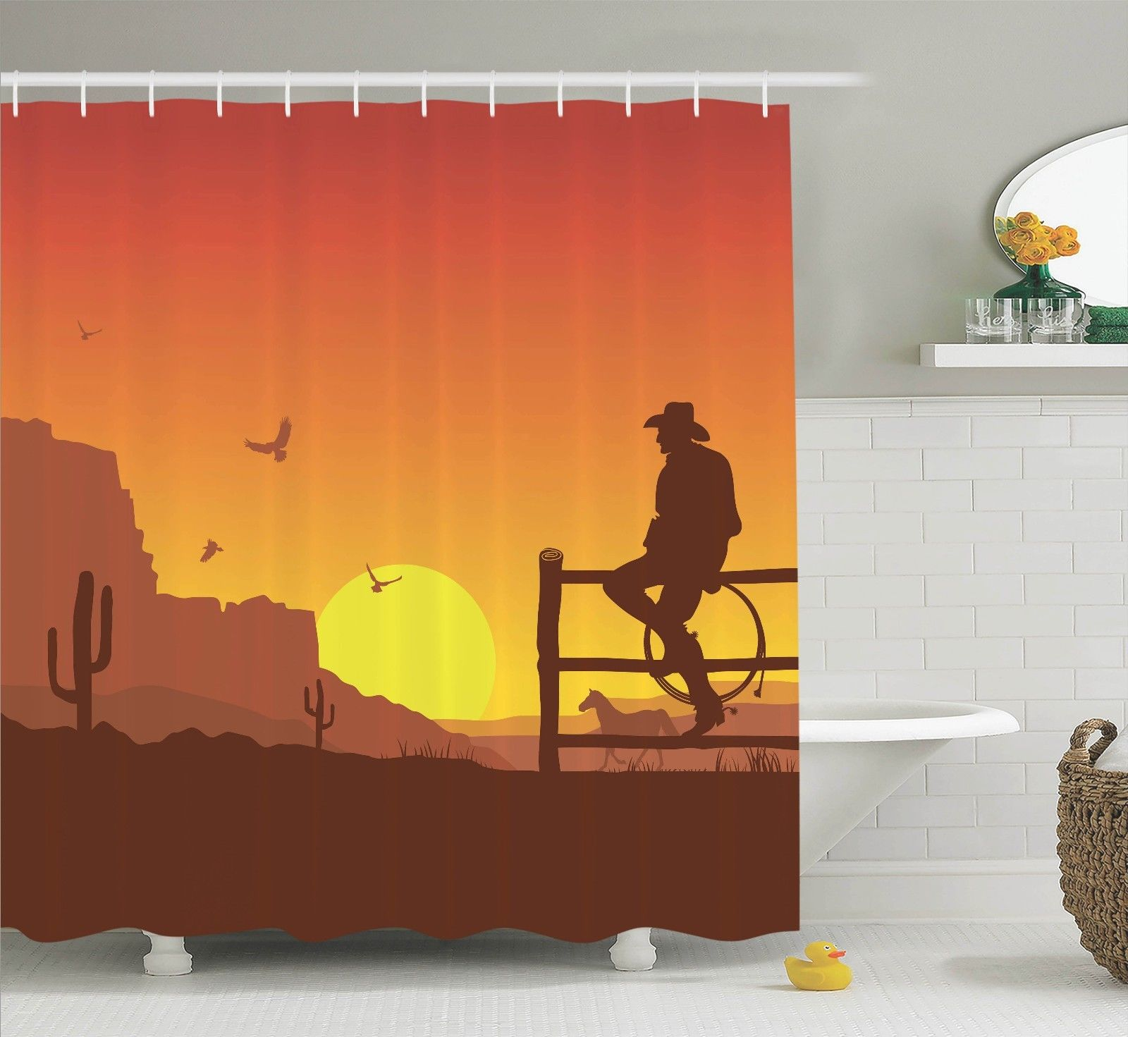 Western Decor Silhouette Of Cowboy In Wild West Sunset Landscape American Culture Image Artsy Print, Bathroom Accessories, 69W X 84L Inches Extra Long, By Ambesonne