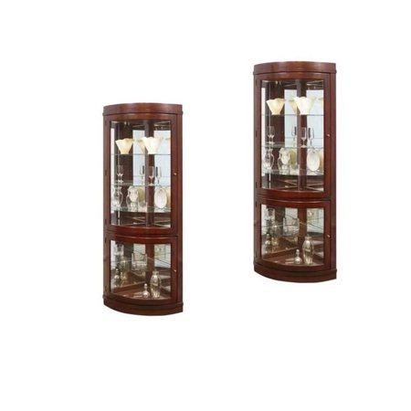 (Set of 2) Corner Curio Cabinet in Chocolate Cherry