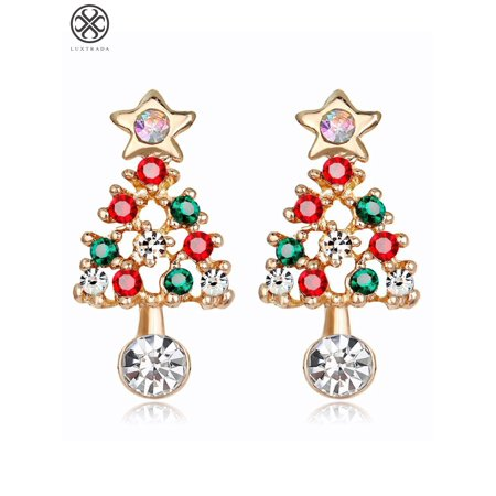 Luxtrada Fashion Holiday Christmas Elements Stud Earrings Women Jewelry Gift (Christmas tree) ()