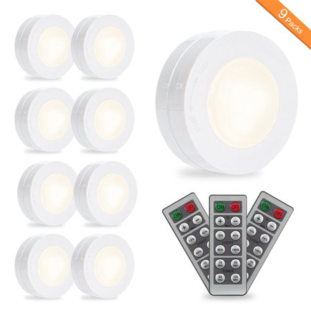 Wireless Led Puck Light 9 Pack With Remote Control