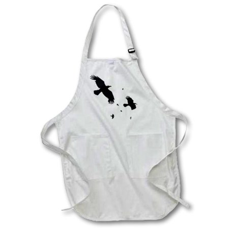 3dRose A Murder of Crows- animal, bird, birds, crow, halloween, myth, mythological, mythology, silhouette, Full Length Apron, 22 by 30-inch, Black, With Pockets