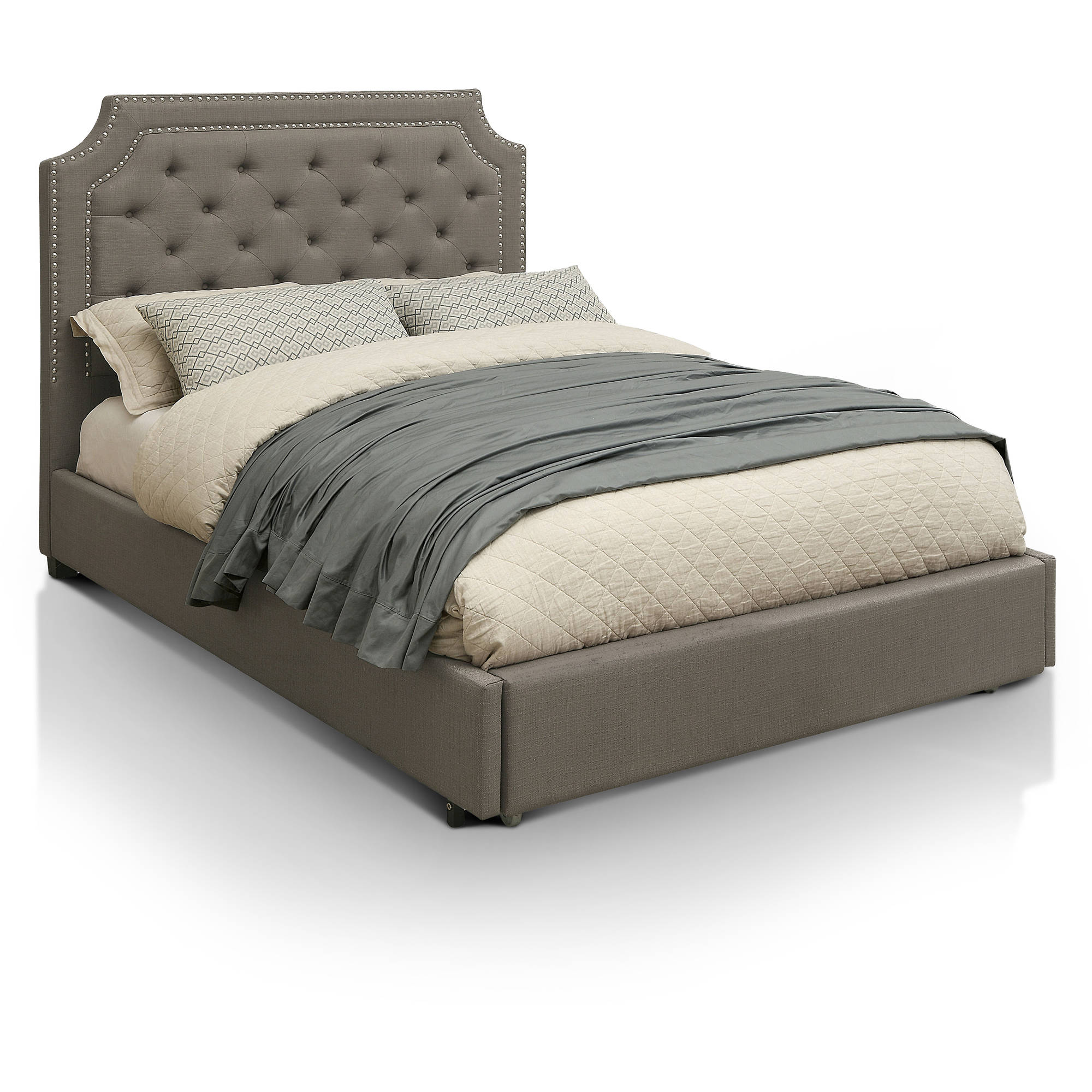 Furniture of America Tallulah Pull-Out Footboard Storage Drawer California King Bed, Gray