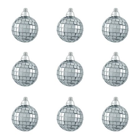 9ct Silver Splendor Mirrored Glass Disco Ball Christmas Ornaments 1.5