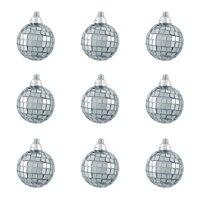 "9ct Silver Splendor Mirrored Glass Disco Ball Christmas Ornaments 1.5"" (40mm)"