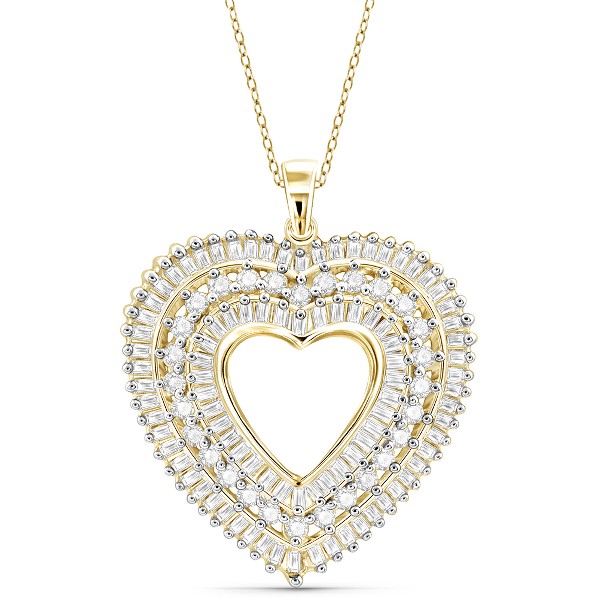 JewelersClub 1.00 Carat T.W. White Diamond Gold over Silver Heart Pendant by JewelersClub