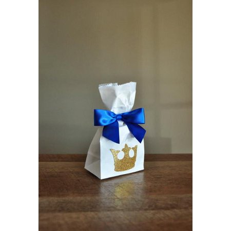 Royal Prince Baby Shower Favor Bags.  Ships in 1-3 Business Days.  Mini Party Favor Bags with King Crown and Bows 10CT. - Baby Shower Favor Bags And Boxes