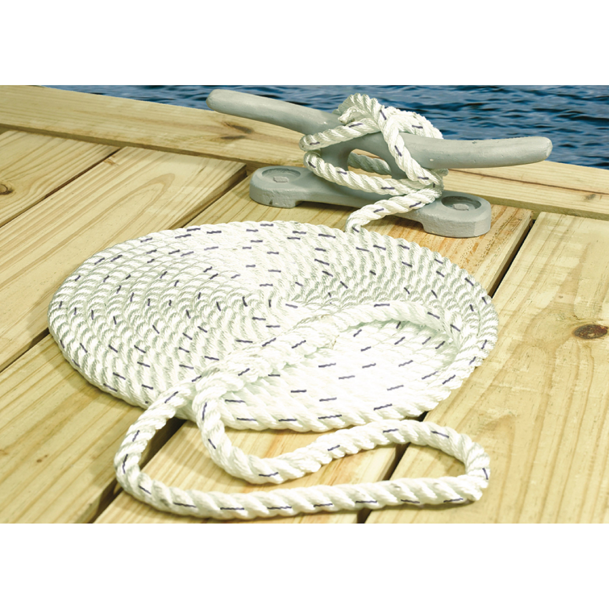 Seachoice Premium 3-Strand Twisted Nylon Dock Line, White with Blue Tracer by Seachoice
