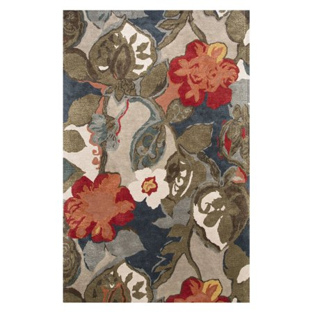 Jaipur Blue Hand-Tufted Petal Pusher Area Rug ()