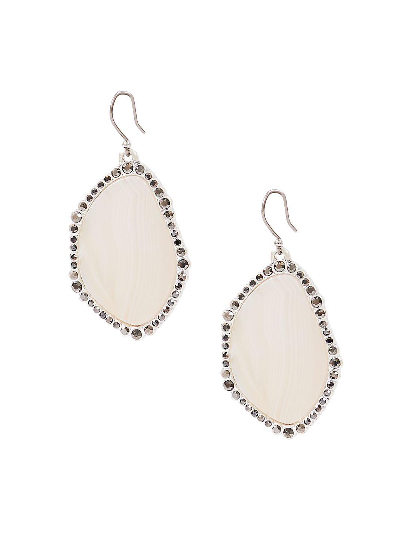 Modern Opulence Silvertone Agate Statement Earrings