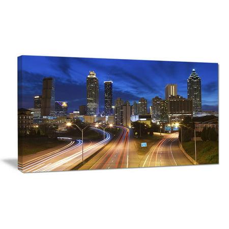 Design Art Atlanta Skyline Twilight Blue Hour Cityscape Photographic Print on Wrapped Canvas
