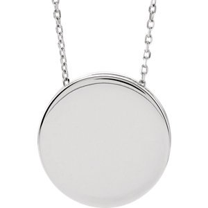 Jewels By Lux Sterling Silver Engravable Scroll Disc (Gemstone Scroll)