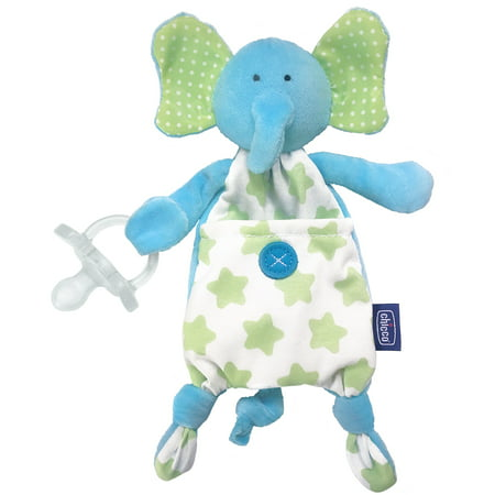 Chicco Pocket Buddies Soft Pacifier Holder-Lovey, Soothing Plush Toy Animal 0m+,