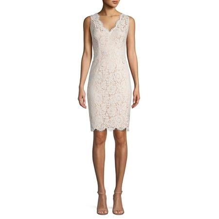 Floral Lace Sleeveless Sheath Dress Lace Jacket & Gathered Dress