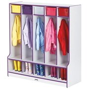 Rainbow Accents 0468JCWW005 5 Section Coat Locker with Step, Teal