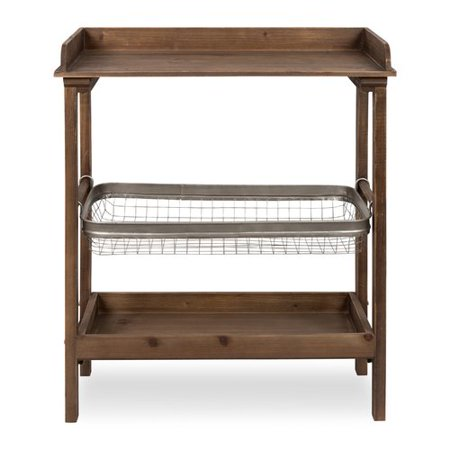 - Gracie Oaks Eleni Farmhouse Chic Galvanized Storage Basket 3-Tier End Table