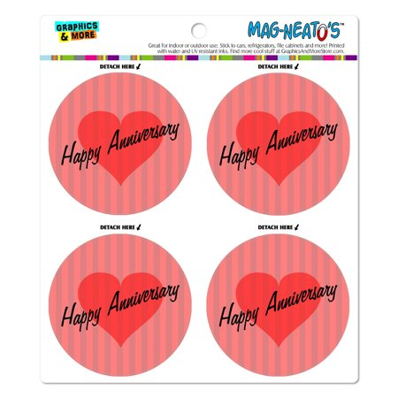 Heart Magnet - Happy Anniversary Heart Love Wedding MAG-NEATO'S(TM) Car/Refrigerator Magnet Set