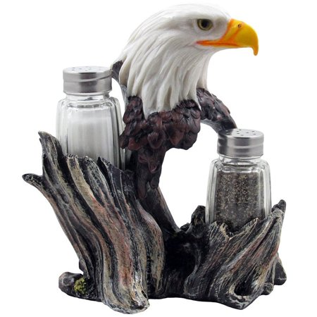 Decorative Eagle Bust Glass Salt and Pepper Shaker Set with Figurine Holder for American Patriotic Kitchen Table Decor by Home 'n Gifts