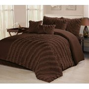 HIG 7 Piece Comforter Set Cal.King-Chocolate Microfiber Several Round Ruffles-HILLARY Bed In A Bag Cal.King Size-Soft, Hypoallergenic,Fade Resistant-1 Comforter,2 Shams,3 Decorative Pillows,1 Bedskirt