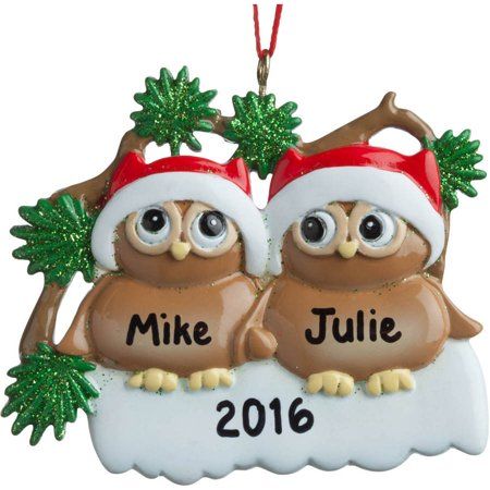 Personalized Owls In Santa Hats Ornament