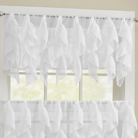 Sheer Voile Vertical Ruffle Window Kitchen Curtain 24 Quot 36