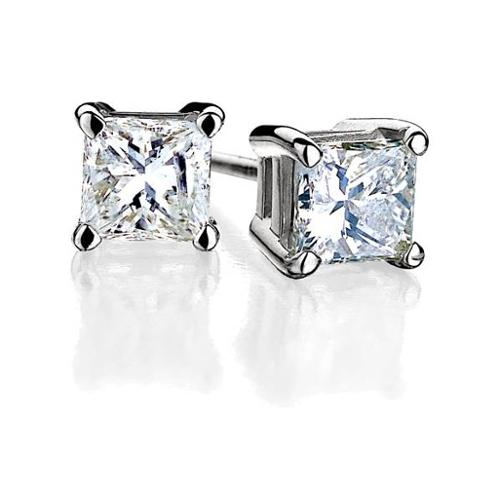 14K White Gold .375 CT TW Princess Cut Diamond Stud Earrings
