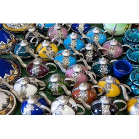 Morocco Casablanca market Ceramic tea pots Stretched Canvas - Cindy Miller Hopkins  DanitaDelimont (17 x 11)](Teapot Planter)