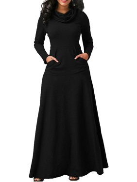 5d3e0494fc6 Product Image Evening Party Night Women Bow Long Sleeve Pockets Solid Long  Dresses