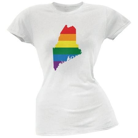 Maine Lgbt Lesbian Pride Rainbow White Juniors Soft T Shirt
