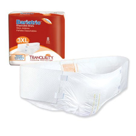 Tranquility HI-Rise Adult Incontinent Brief Tab Closure Bariatric Disposable Heavy Absorbency Bariatric Hi Lo Table