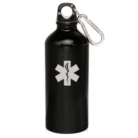 Black 20oz Aluminum Sports Water Bottle Caribiner Clip ZW497 Star of Life EMT