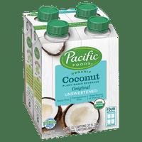 Pacific Foods Organic Unsweetened Coconut, Original, 8 fl oz, 4 Count Keto Friendly