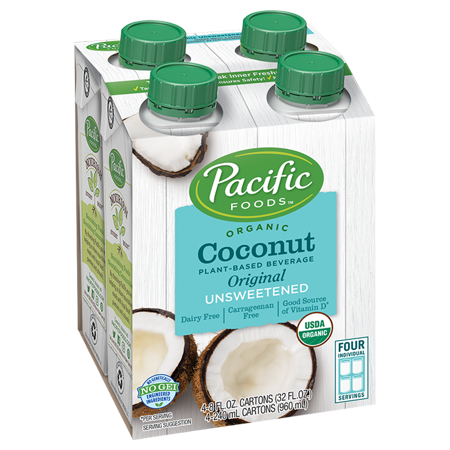 Pacific Foods Organic Unsweetened Coconut, Original, 8 fl oz, 4 Count