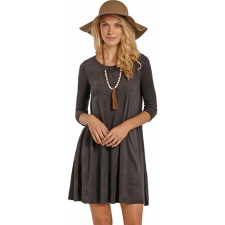 rock & roll cowgirl women's and dark grey micro suede swing dress - d4-3799 - Dress Up Like A Cowgirl