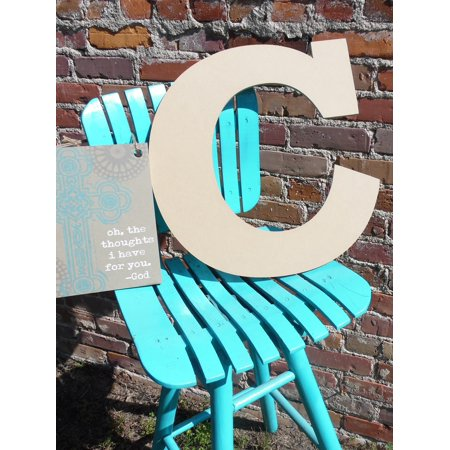 Unpainted Letters - Wooden Letter, Unpainted Wood Craft Letter, 12'' C Rockwell