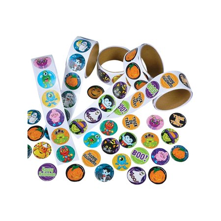 Halloween Sticker Assortment - 5 Rolls of 100 Stickers Each
